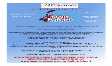MARY POPPINS Audition Flyer - black print