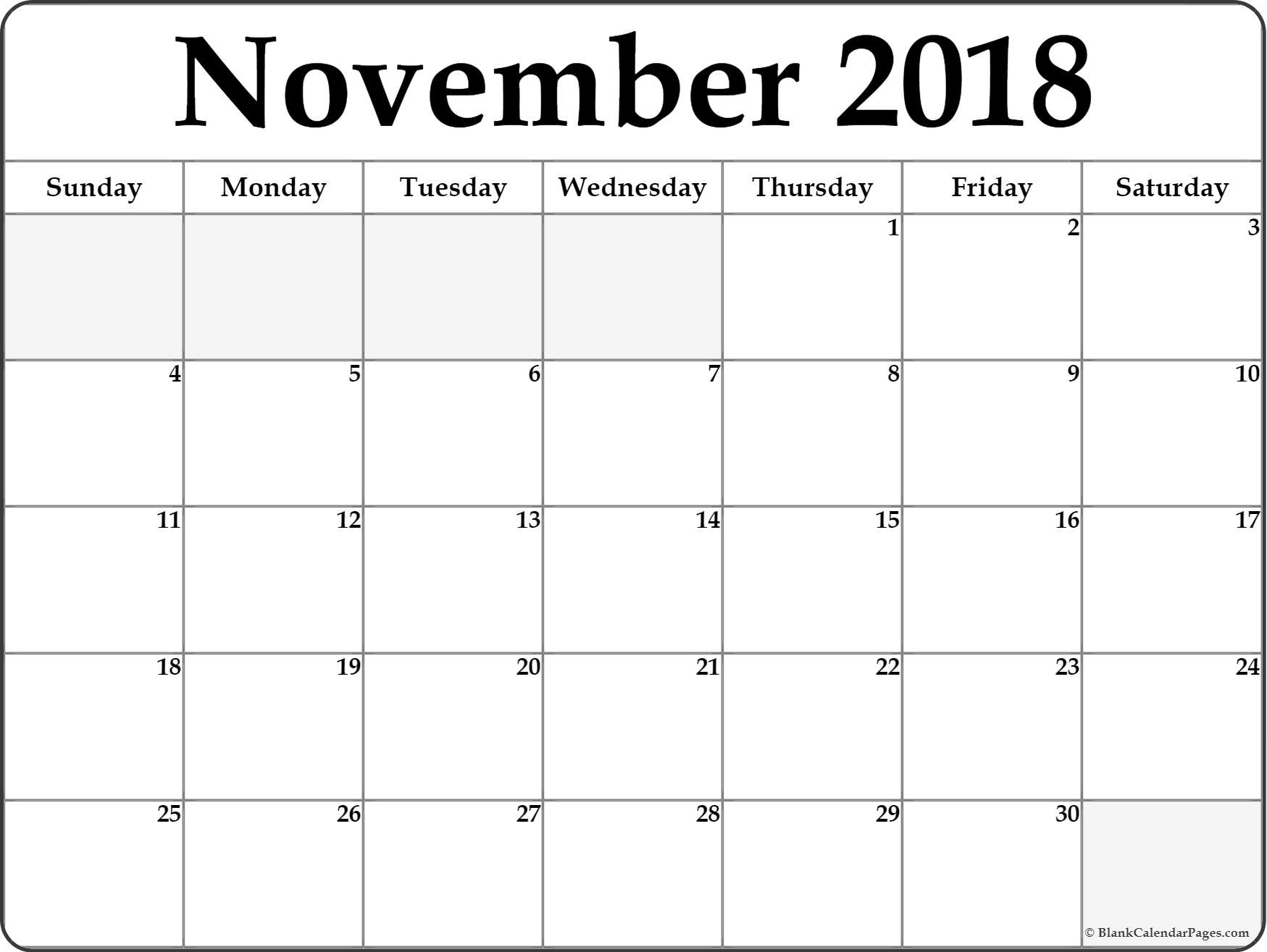 Word PDF Cute November 2018 Calendar To Print With Holidays Templates Download Free Blank Printable