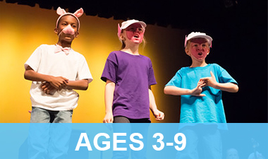 Three acting students performing the three little pigs for their recital.