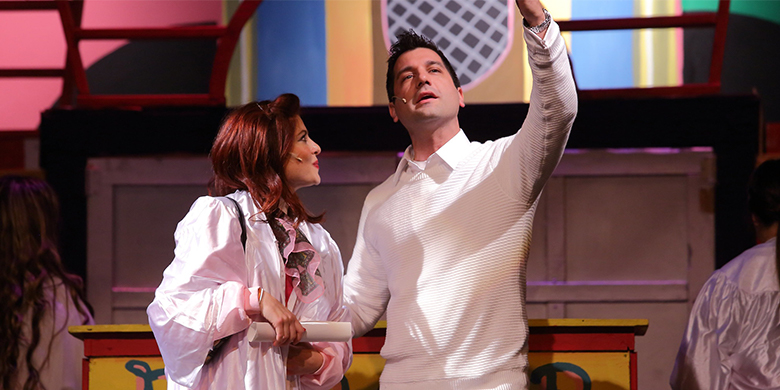 "Teen Angel (Greg Harr) and Frenchy (Laura DiStefano) performing ""Beauty School Drop Out"" from Mainstage's 2017 production of Grease."